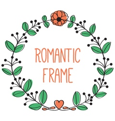 Romantic floral frame vector