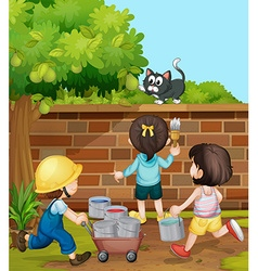 Kids painting brick wall in the garden vector