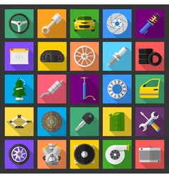 Auto car mechanic service maintenance icons flat vector