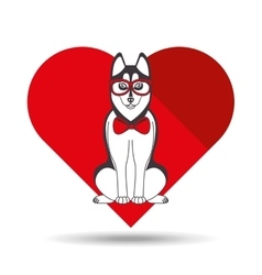 Cute dog pet with siberian glasses heart vector
