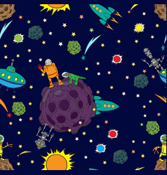 seamless background space rockets and ufos stars vector image