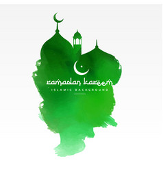 green mosque design made with watercolor vector image