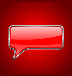 red speech bubble with chrome frame on red vector image