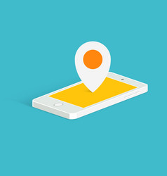 Phone location pin icon isometric view vector