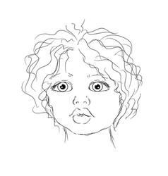 Contour portrait child vector