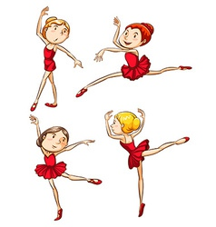 Simple sketch of the ballet dancers wearing red vector image