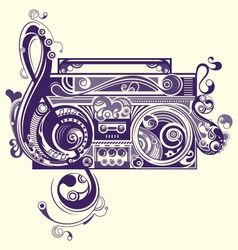Abstract radio tape decorative elements vector