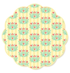 Retro flower round napkin vector