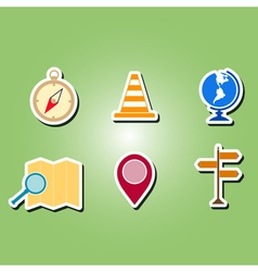 Color icons with map and location sign vector