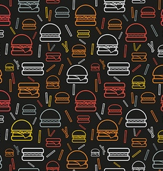 Seamless pattern of colored burgers and fries on vector