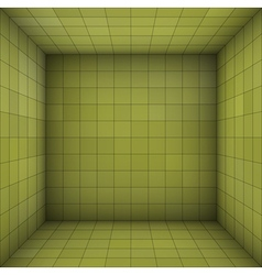 Empty futuristic room with green walls vector