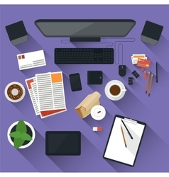 Flat office workspace vector