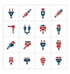 Set color icons of plugs and connectors vector image