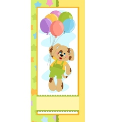 Babys banner with dog in green and yellow colors vector image