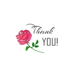 Thank You lettering and a pink rose vector image