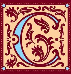 vintage letter C vector image