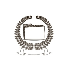 Arch of leaves with folder and label vector