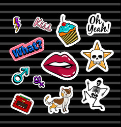 colored stickers collection vector image vector image
