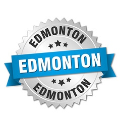 Edmonton round silver badge with blue ribbon vector