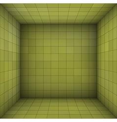 Empty futuristic room with green walls vector