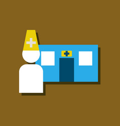 Flat icon design collection doctor and hospital vector