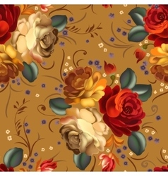 Floral seamless pattern with vintage flowers vector image