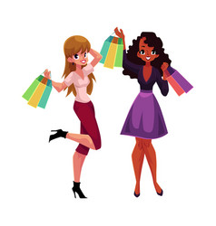 happy black and caucasian women girls friends vector image vector image