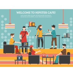 Hipster Cafe Flat vector image vector image
