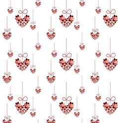 Seamless pattern red heart hanging vector