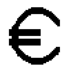 Sign pixel euro black 807 vector image