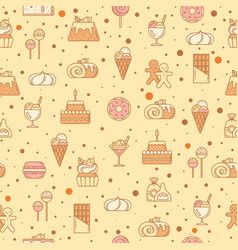 Sweet seamless pattern with cupcakes candy vector