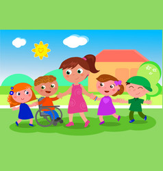 teacher with kids near school vector image vector image