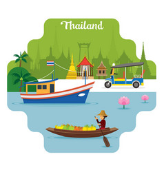 thailand travel and attraction landmarks vector image vector image