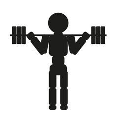 Weightlifter silhouette against white vector