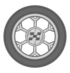 Wheel from racing car icon black monochrome style vector image