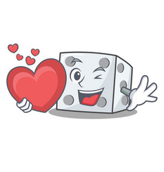 With heart dice character cartoon style vector