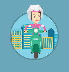 Woman riding scooter in the city vector