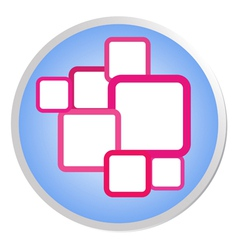 Pink squares in blue shiny circle label vector