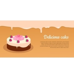 Delicious cake excellent cake strawberry pie vector