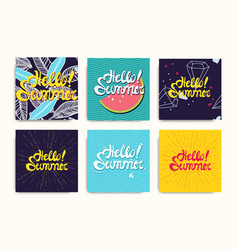 hello summer inscription posters set vector image