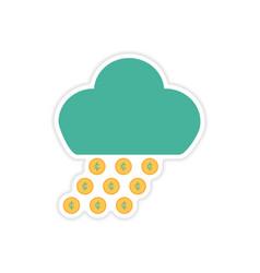 Stylish sticker on paper rain cloud coins vector