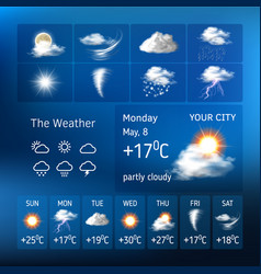 Realistic design for a mobile weather forecast vector