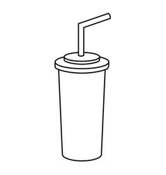 Line soda beverage in the cinema movie scene vector