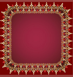 A red background frame with pearls gold ornaments vector