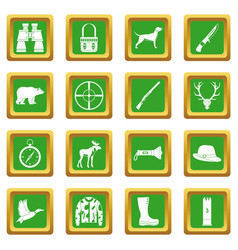 Hunting icons set green vector