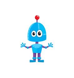 Flat cartoon small funny male boy robot vector