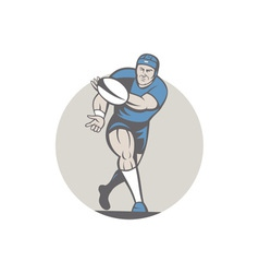 Rugby Player Running Ball Isolated Cartoon vector image