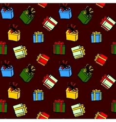 pattern with Christmas gifts vector image