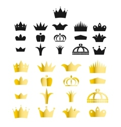 Gold crown clip art set vector