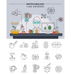 Biotechnology line banner set vector